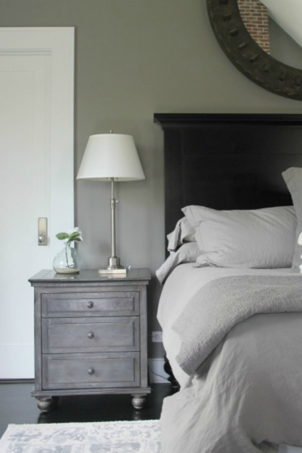 Benjamin Moore Platinum Gray in a modern farmhouse bedroom - Hello Lovely Studio. Come Tour 16 Soothing Paint Colors for a Tranquil Bedroom Retreat!