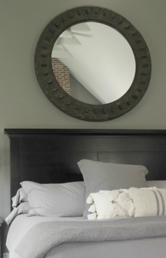 Benjamin Moore Platinum Gray in a serene modern farmhouse bedroom. Hello Lovely Studio.