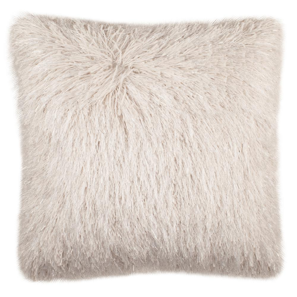 Shaggy Safavieh Throw Pillow in Metallic Beige at The Home Depot.