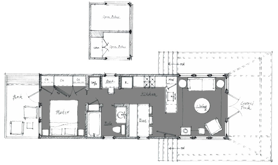Saltbox designer cottage floorplan by Jeffrey Dungan