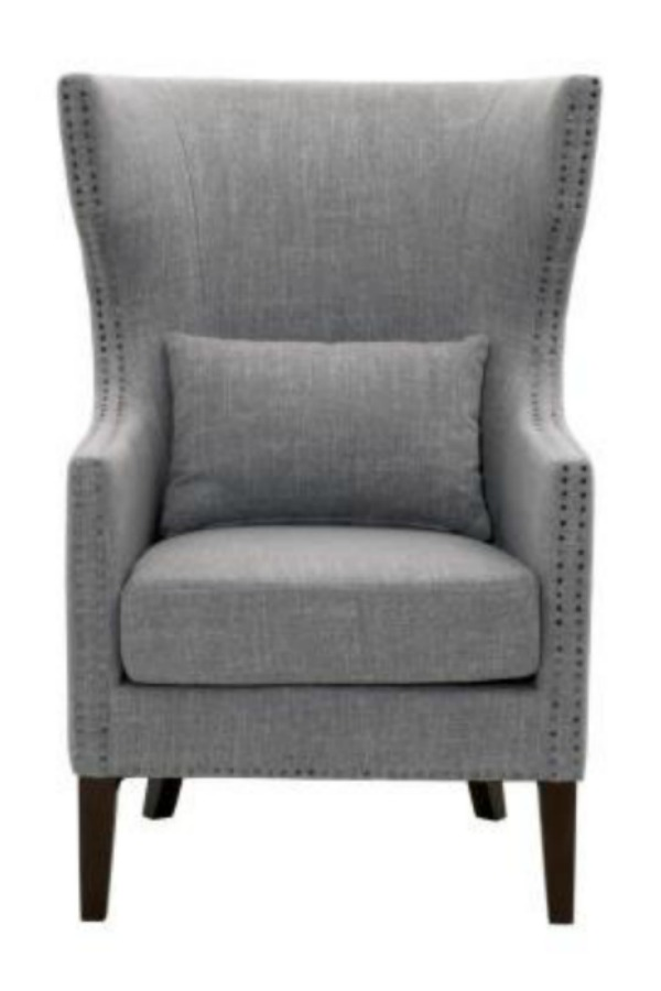 Bentley Smoke Grey Upholstered Arm Chair, The Home Depot
