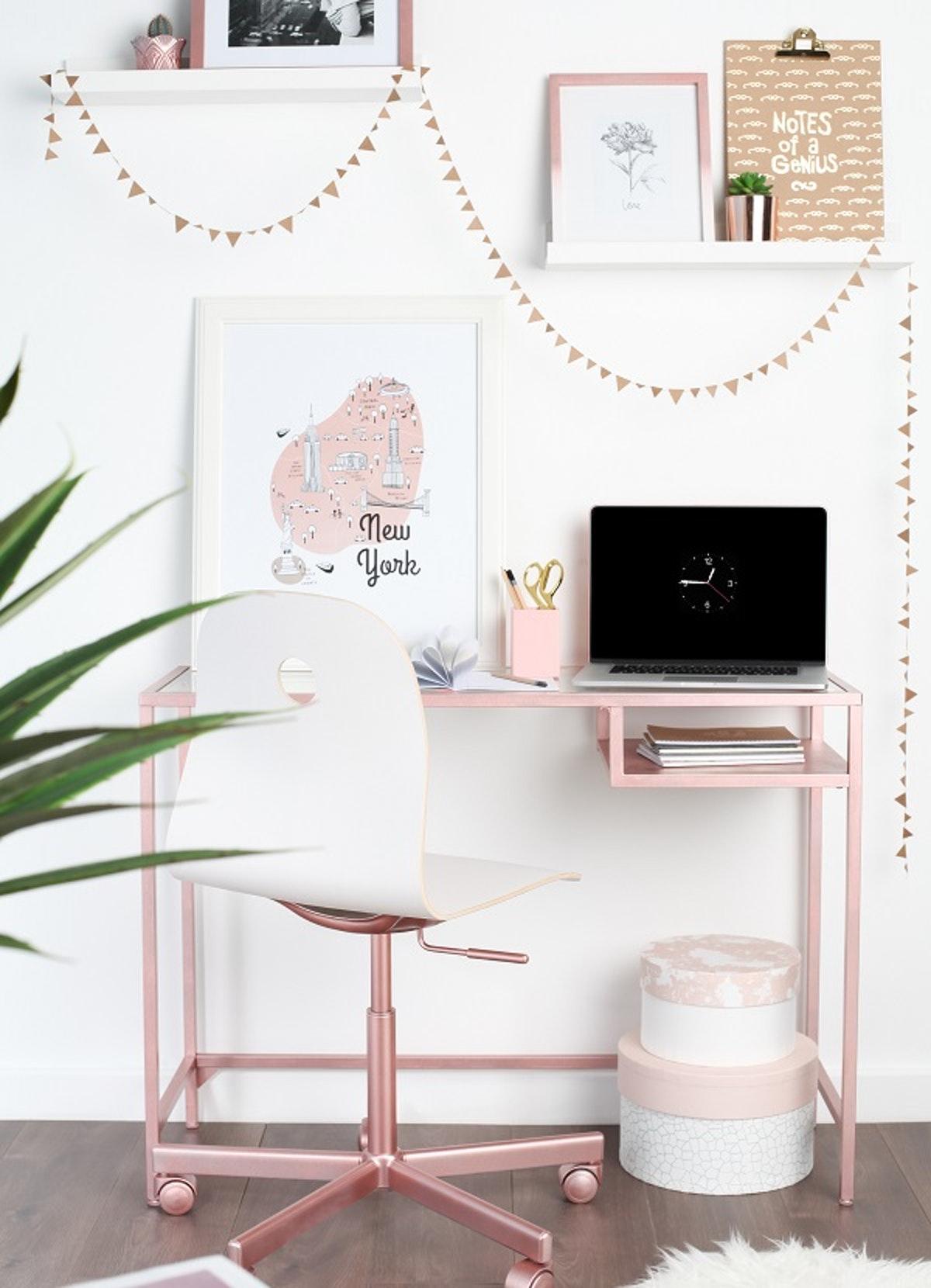 Beautiful Ikea hack of Vittsjo with rose gold paint via Heart Home Mag. 11 Super Simple Ikea Hacks for Vittsjo Desk & Shelf!
