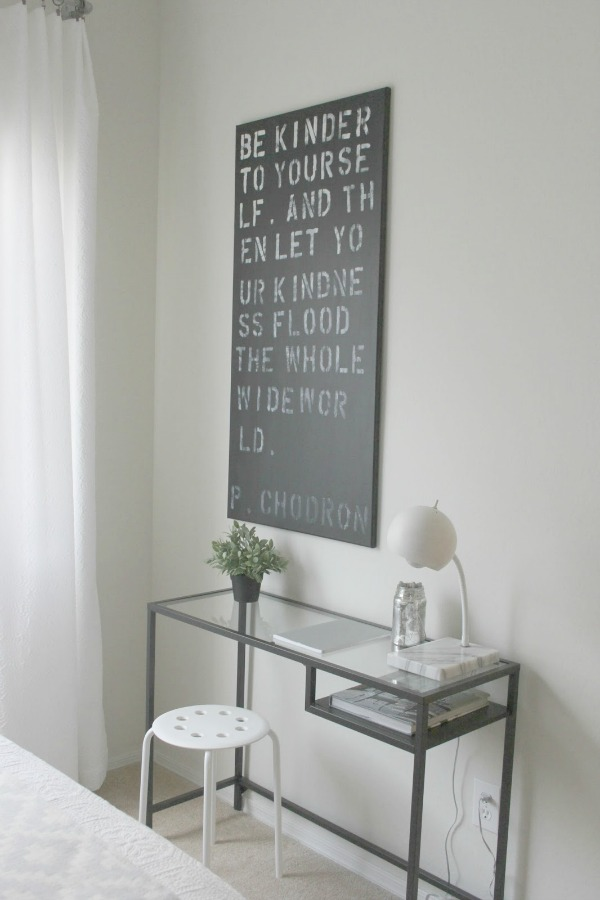 Handlettered canvas with Pema Chodron quote, Vittsjo desk (Ikea), and midcentury modern lamp - Hello Lovely Studio.