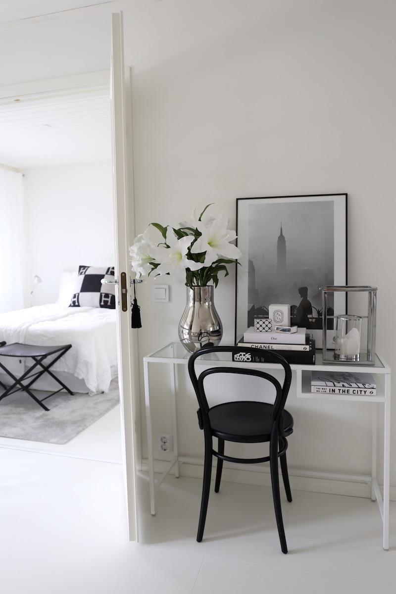 Beautiful vignette with Ikea's Vittsjo laptop table desk - Home Via Laura.
