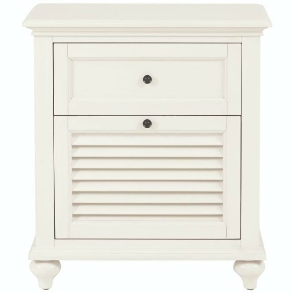 Hamilton White Two Drawer Nightstand at The Home Depot.