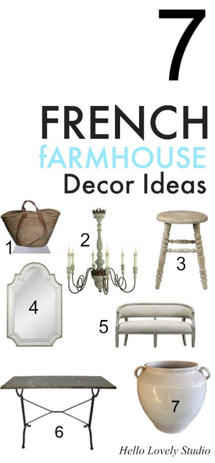 Country French farmhouse furniture and decor ideas and interior design inspiration on Hello Lovely Studio. #interiordesign #homedecor #frenchcountry #frenchfarmhouse #decorating #furniture #frenchdecor