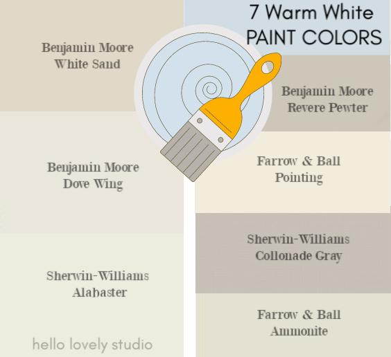 7 Warm White Paint Colors - Hello Lovely Studio. #paintcolors #whitepaint #interiordesign