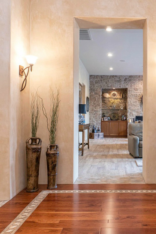 Beautiful Tuscan and French farmhouse design inspiration from an Arizona home with rustic elegance design details.