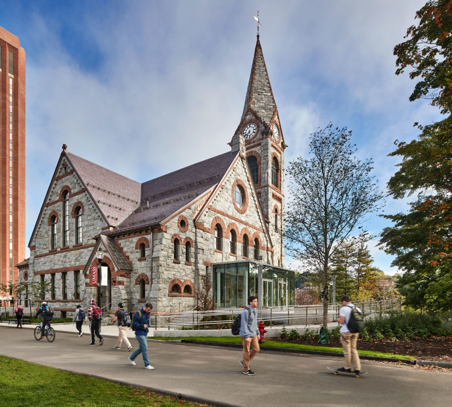 Old Chapel UMASS Amherst - 1884 Richardsonian Romanesque Revival style 19th century building with renovation by Finegold Alexander Architects, Inc. in 2015.