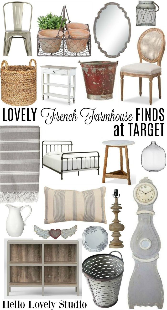 French farmhouse decor finds and furniture at Target from Hello Lovely Studio.