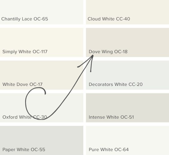 Benjamin Moore Dove Wing white paint color. #benjaminmoore #paintcolors #dovewing
