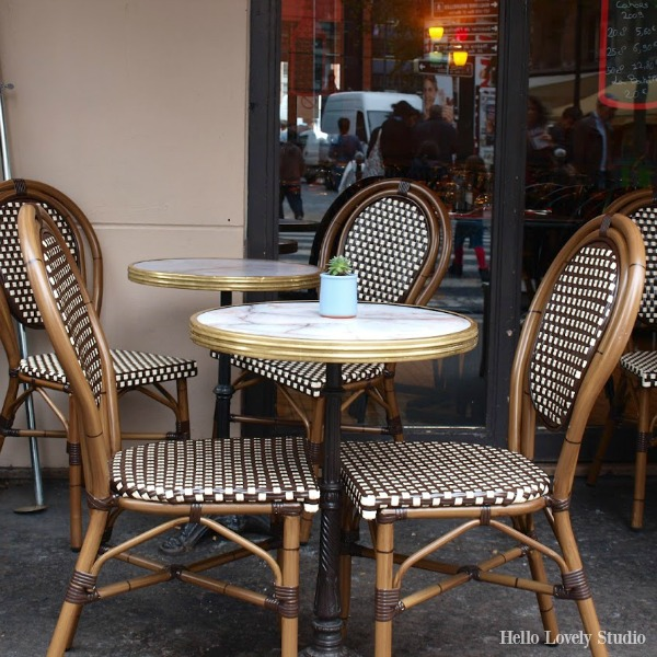Bistro chairs and table in Paris by Hello Lovely Studio.