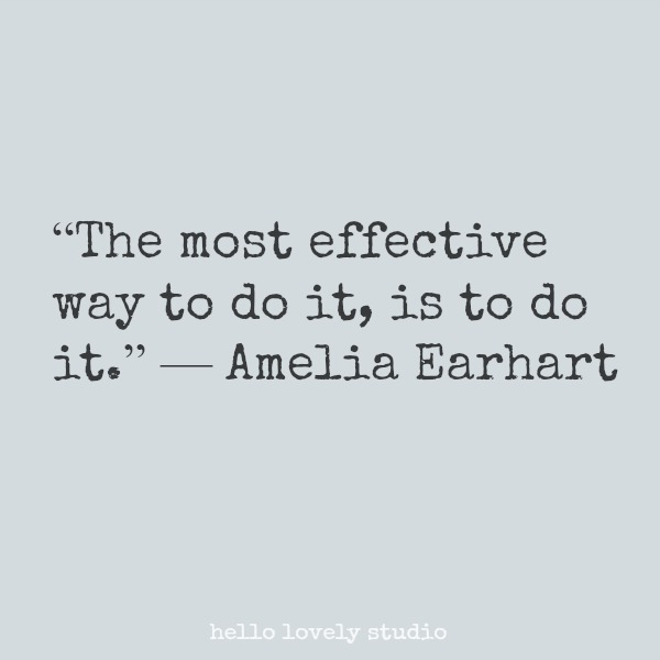 Inspirational quote from Amelia Earhart on Hello Lovely Studio