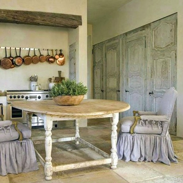 French country farmhouse kitchen with design by Pamela Pierce, architecture by Reagan Andre, and constructtion by MDD. Come score ideas for a Timeless and Tranquil European Country Inspired Look. #europeancountry #interiordesign #frenchcountry
