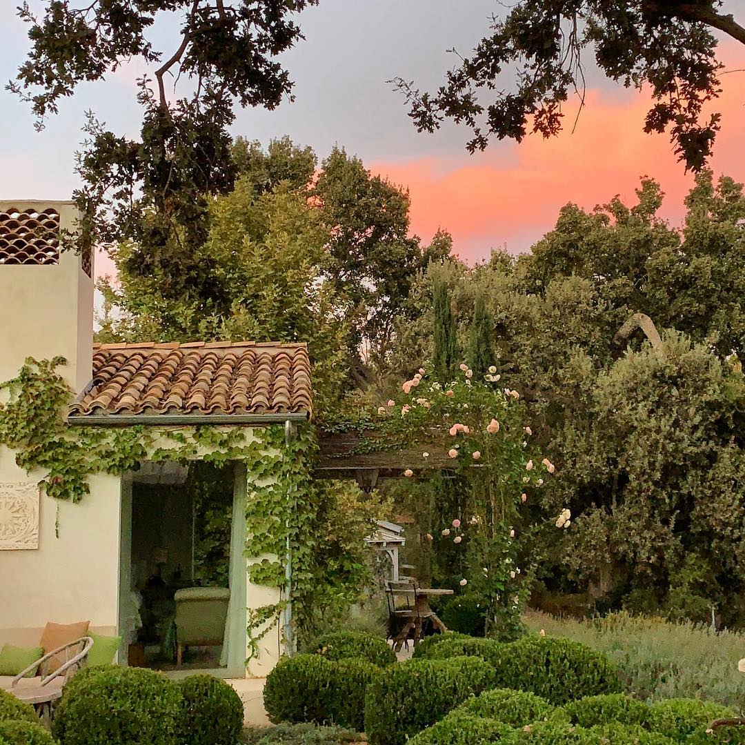 Patina Farm garden at sunset with boxwood, climbing roses, and European country style. Brooke Giannetti. #ojaicalifornia #patinafarm #giannettihome #frenchfarmhouse #frenchgarden #rosegarden #landscapedesign #boxwood