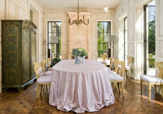 Magnificent French farmhouse dining room designed by Pamela Pierce in a Houston home by Reagan Andre.
