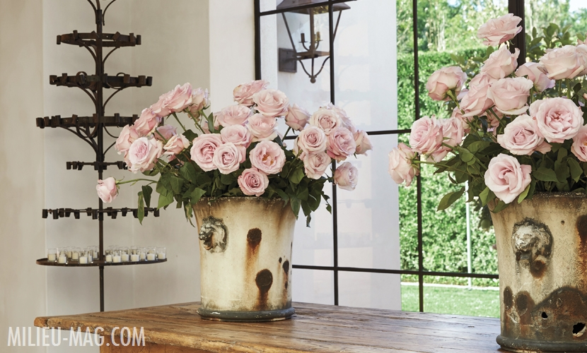 Light pink roses in antique planters on rustic wood table. Design by Pamela Pierce. Come enjoy photos of this house tour with architecture by Reagan Andre.