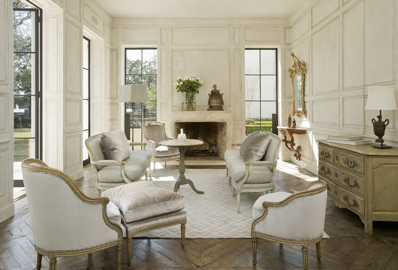 Sophisticated French living room with white designed by Pamela Pierce.