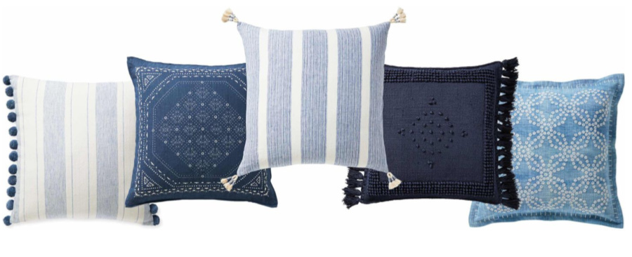Assortment of blue throw pillows with coastal style from Serena and LIly. #pillows #bluepillows #coastalstyle