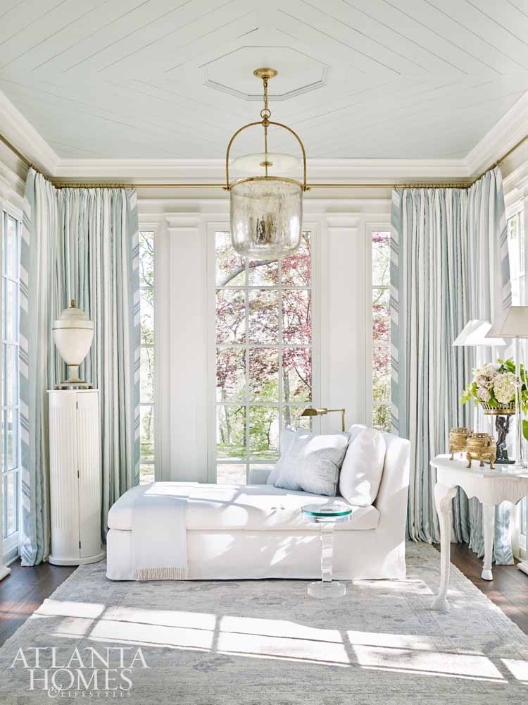 Luxurious and classic light blue and white bedroom in Southeastern Designer Showhouse 2017. Sherwin Williams Alabaster paint color on walls. Atlanta Homes.