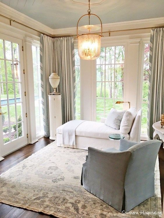 Blue and white bedroom in Southeastern Designer Showhouse 2017 Atlanta. Sherwin Williams Alabaster paint color.