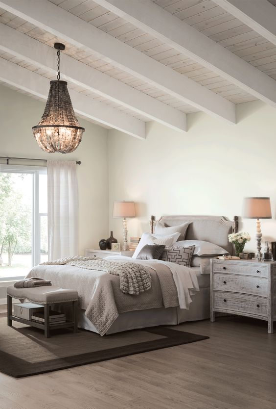 Wall paint color: SHERWIN WILLIAMS Alabaster. Photo: Sherwin Williams. Come Tour 16 Soothing Paint Colors for a Tranquil Bedroom Retreat!