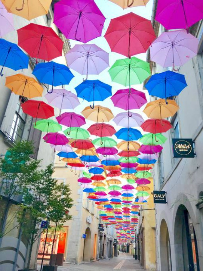 Umbrellas over Carcassonne art exhibit
