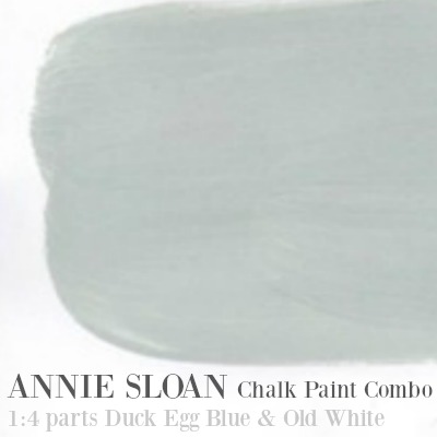 Annie Sloan Chalk Paint Combo: 1 part Duck Egg Blue with 3 parts Old White.