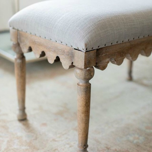 Belgian style wood upholstered bedroom bench - Hooker Furniture Boheme Madera. See 18 Inspiring Country French Bedroom Decor Ideas!