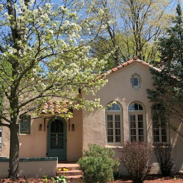 Charming vintage home exterior in Spring. Hello Lovely Studio.