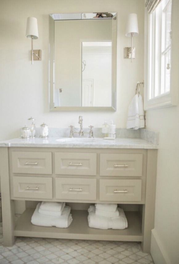 French country farmhouse bathroom with Sherwin Williams Alabaster paint color on walls. Brit Jones Design.