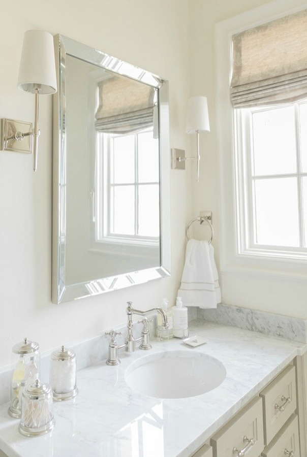 French country farmhouse white bathroom. Sherwin Williams Alabaster paint color on walls. Brit Jones Design.