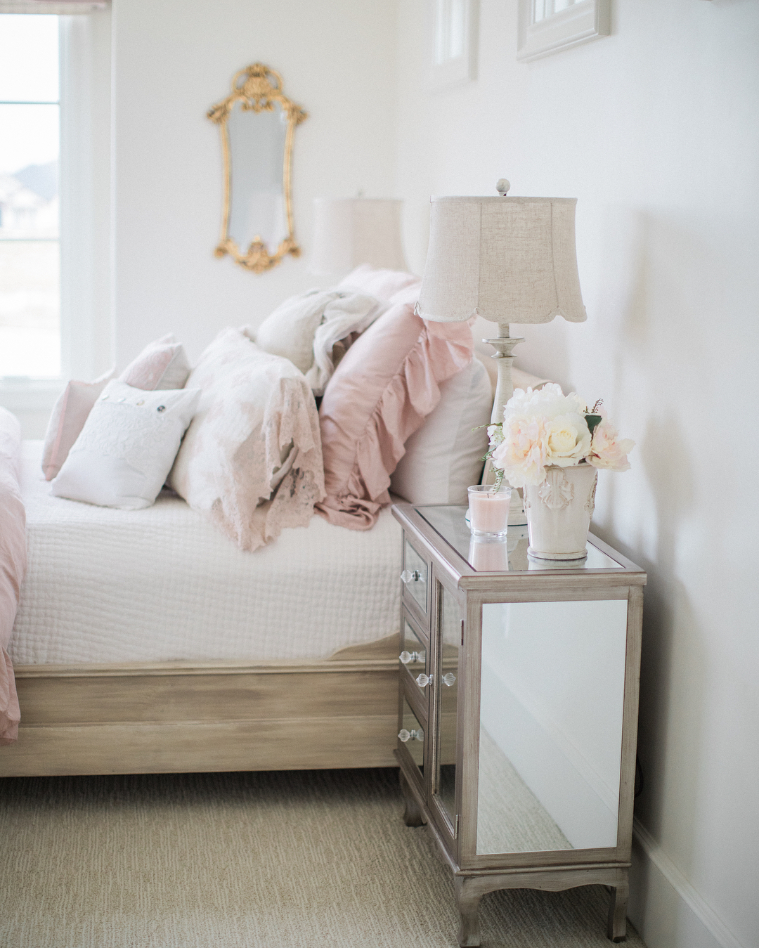 Romantic French country girls bedroom by Brit Jones. Come Tour 16 Soothing Paint Colors for a Tranquil Bedroom Retreat!