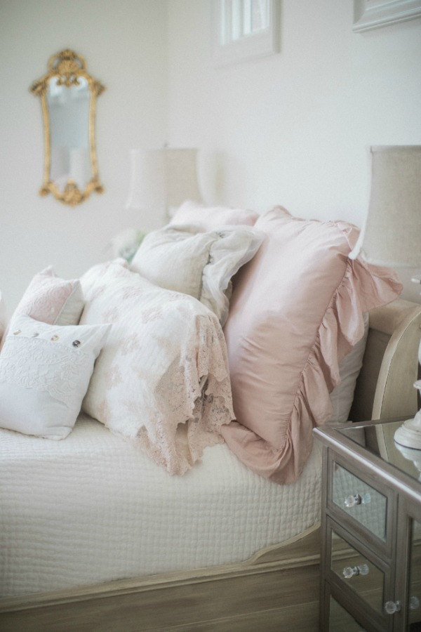 Elegant and lofty French country girl's pink bedroom. Romantic French farmhouse style by Brit Jones Design. See 18 Inspiring Country French Bedroom Decor Ideas!