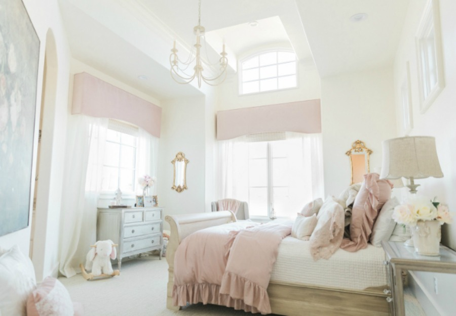 Sherwin Williams Alabaster paint color on walls. Elegant and lofty French country girl's pink bedroom. Romantic French farmhouse style by Brit Jones Design.