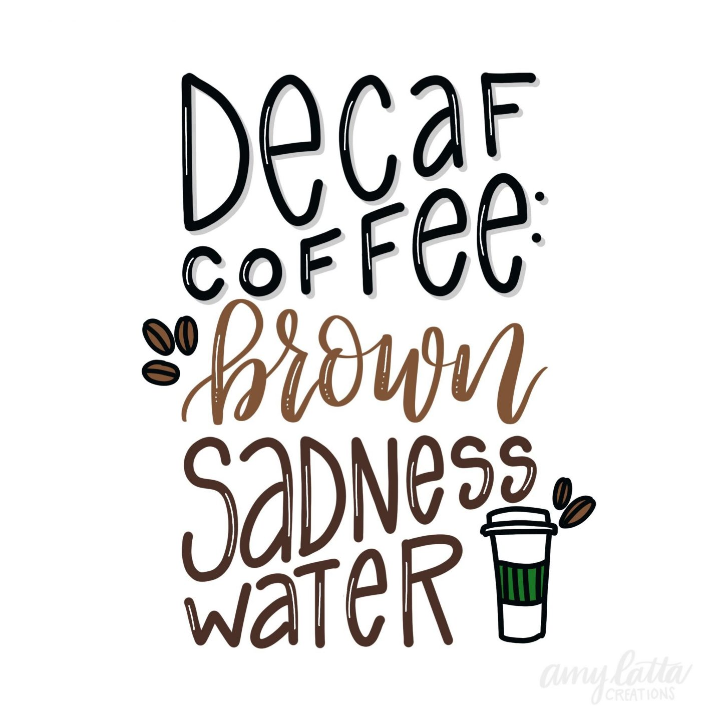 Funny quote about coffee with handlettering by Amy Latta. #humor #funnyquote #coffeequote #amylatta #handlettering