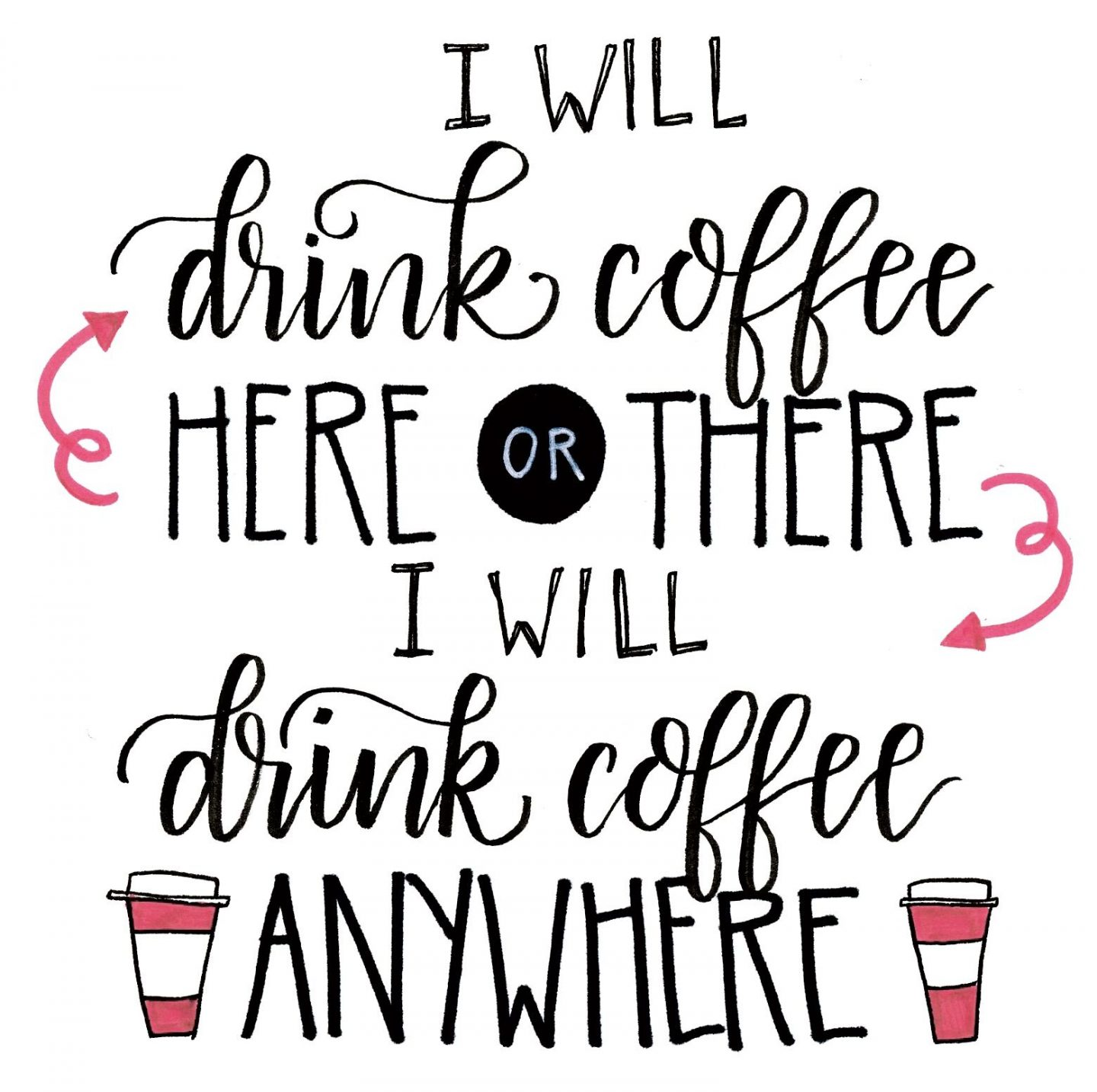 Funny handlettered quote about drinking coffee from Amy Latta. #coffee #humor #funnyquote