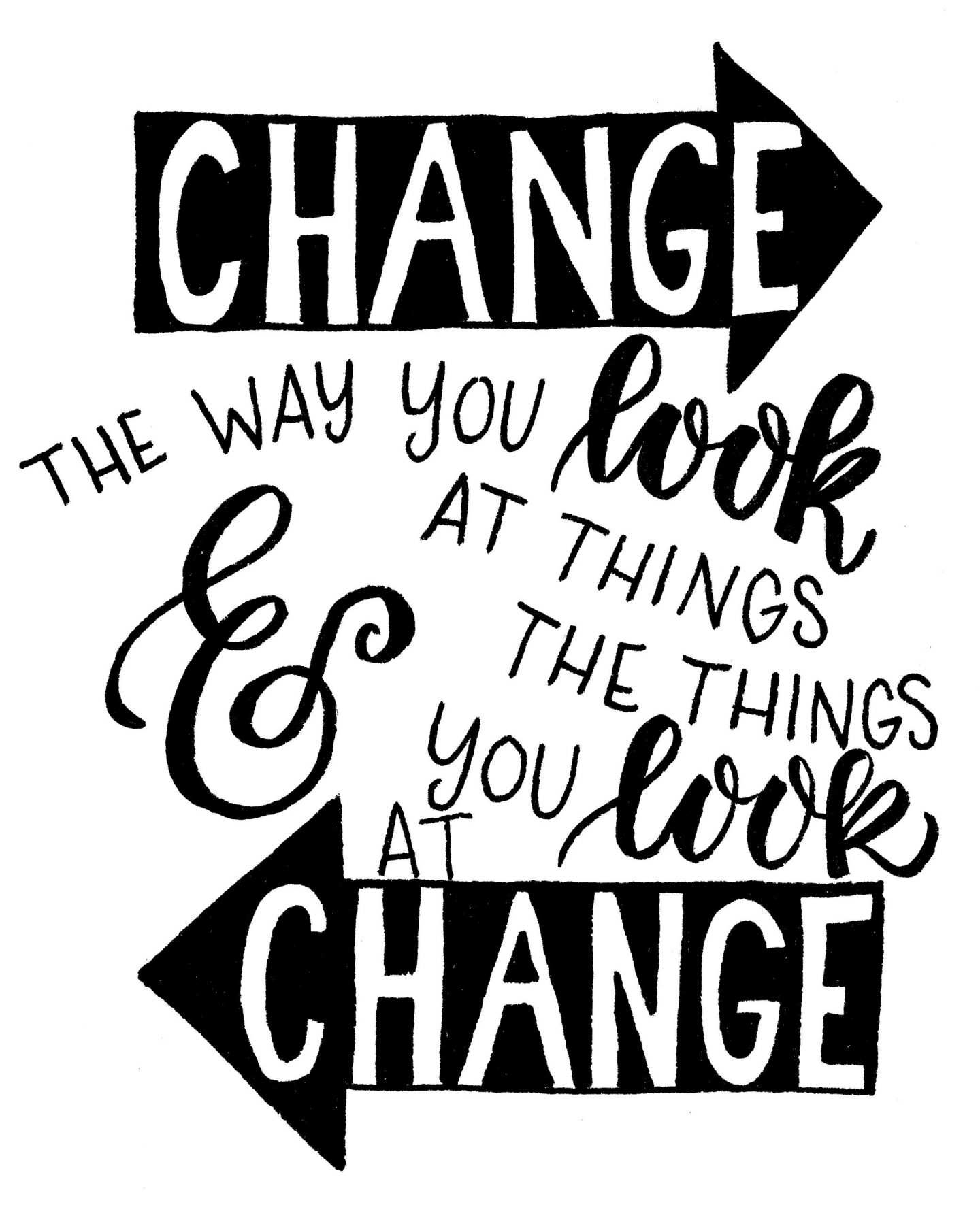 Inspirational quote about change with handlettering by Amy Latta. Come see more in 20 Hand Lettered Quotes, Big SMILES & Fun Finds! #inspirationalquote #handlettering #amylatta #change