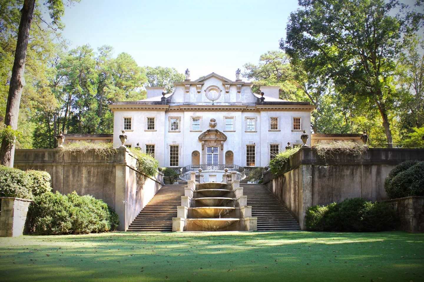 1928 Swan House, designed by Philip T. Shutze for the Inman family. The house is operated as part of the Atlanta History Center and is maintained as a 1920s and 30s historic house museum.