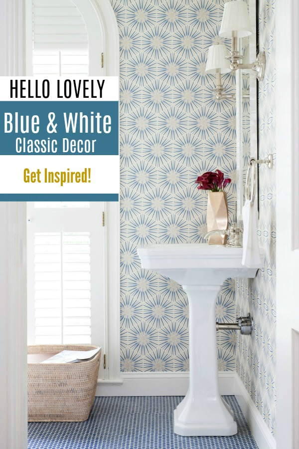 Blue and White Classic Decor Inspiration on Hello Lovely Studio.