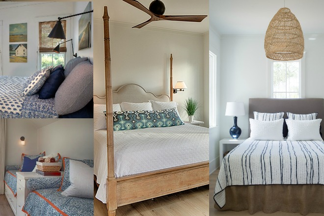 Coastal cottage bedroom collage. Design: Lisa Furey.