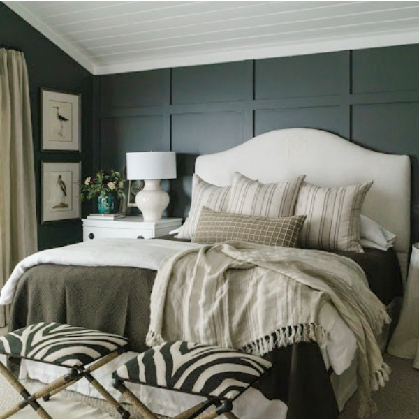 Benjamin Moore Iron Mountain black paint color on walls of beautiful bedroom designed by Sherry Hart. #ironmountain #benjaminmooreironmountain #paintcolors #darkpaintcolors #b;aclbedrpp,