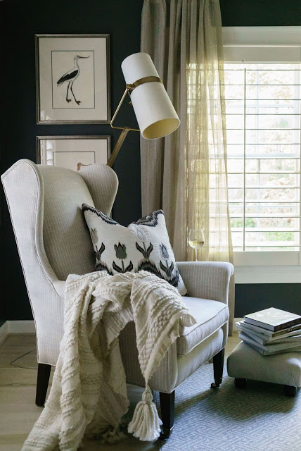 Benjamin Moore Iron Mountain paint color in beautiful bedroom designed by Sherry Hart.