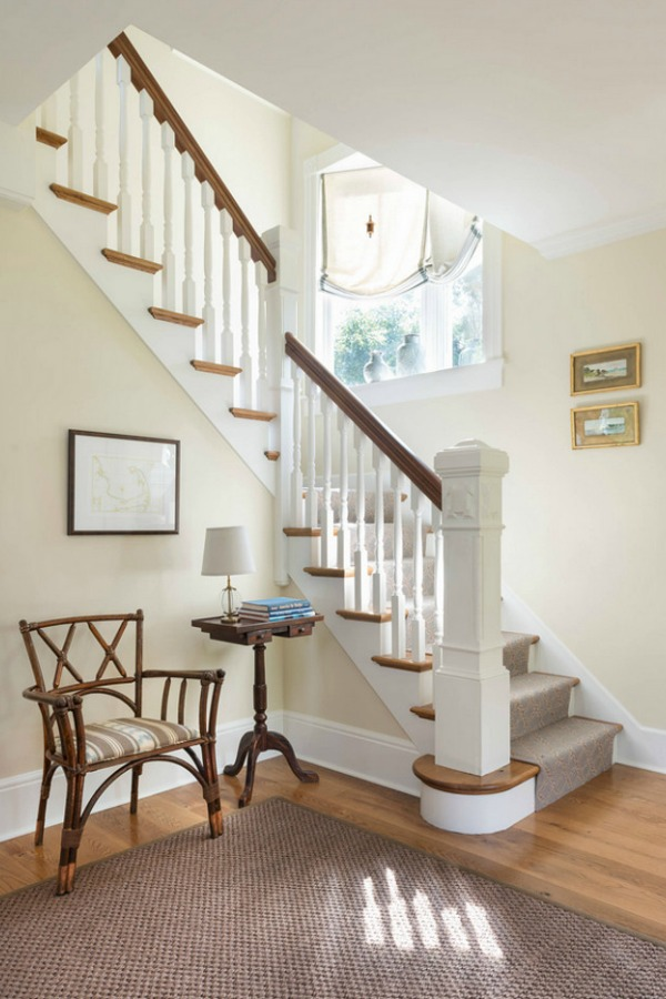 Benjamin Moore Natural Cream paint color in a cottage designed by Taste Design.