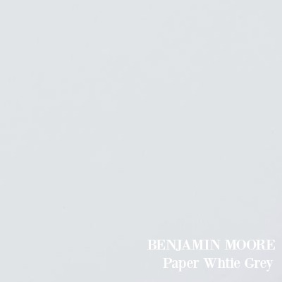 BENJAMIN MOORE Paper White Grey - a pale sophisticated light blue paint color.