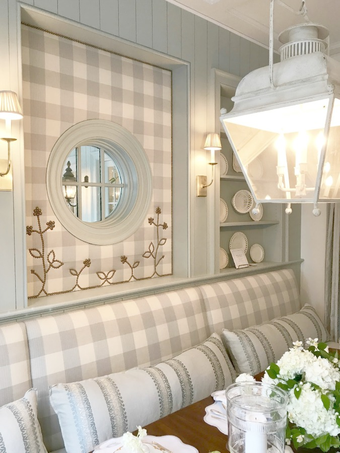 Farrow & Ball Light Blue painted trim and lovely gingham upholstery in a stunning traditional kitchen in the Southeastern Designer Showhouse 2017. Design: Lauren Deloach