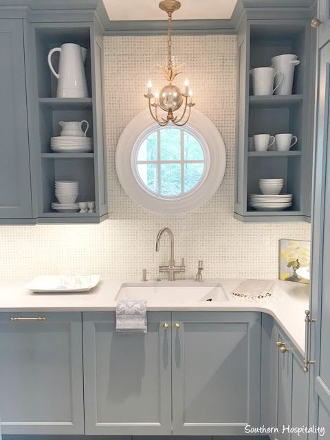 Farrow & Ball Light Blue paint color on cabinetry in butler pantry of kitchen (Design Gallery) in Southeastern Designer Showhouse 2017.