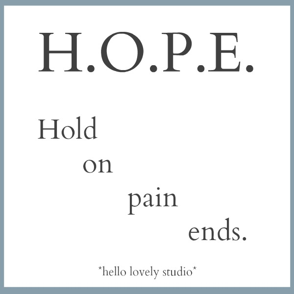 Inspirational quote about hope on Hello Lovely Studio