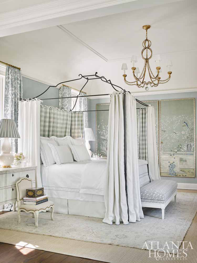 Luxurious light blue bedroom by Tristan Harstan in Southeastern Designer Showhouse 2017. Atlanta Homes & Lifestyles.