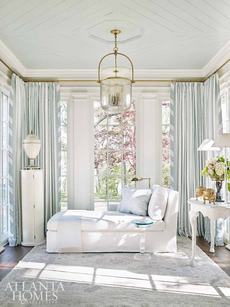 Sherwin Williams Rainwashed painted ceiling in breathtaking light blue bedroom in Southeastern Designer showhouse - design by Tristan Harstan. Atlanta Homes & Lifestyles.